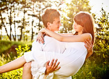 Happy couple in park Stock Photos