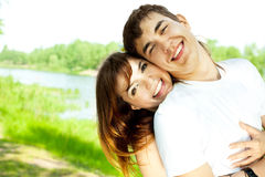 Happy couple in the park Royalty Free Stock Photography