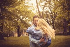 Happy couple in park. royalty free stock photos
