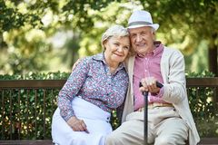 Happy couple in park Royalty Free Stock Photos