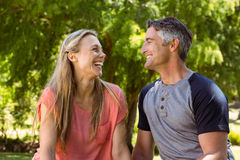 Happy couple in the park Stock Images