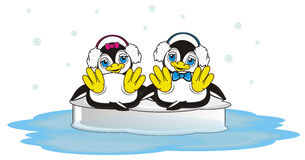 Happy couple of penguins in headphones. Penguin boy and penguin girl in differents headphones swimming on the ice together and it's snow stock illustration