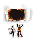 Happy couple people, abstract Ripped paper design and flames. Talking people, abstract Ripped paper design and fire Royalty Free Stock Image