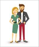 Happy couple people flat illustration Stock Image