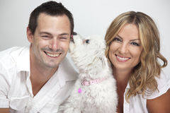 Happy couple with pet dog Royalty Free Stock Photos