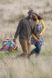 Happy couple with picnic basket holding hands in field Royalty Free Stock Photography