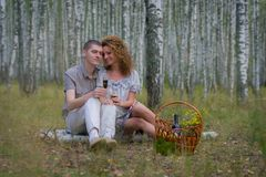 Happy couple on picnic in forest Stock Photos