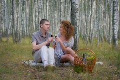 Happy couple on picnic in forest Royalty Free Stock Photo