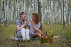 Happy couple on picnic in forest Stock Image