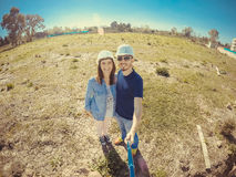 Couple on a piece of land Royalty Free Stock Images