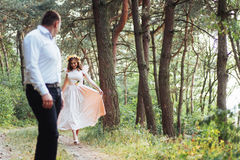 Happy couple in a pine forest Beauty world Royalty Free Stock Photo