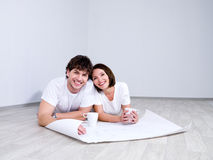 Happy Couple planning new room Stock Photos