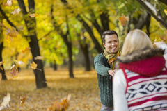 Happy couple playing with autumn leaves in park Stock Image
