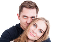 Happy couple portrait cuddling and being affective Royalty Free Stock Photos
