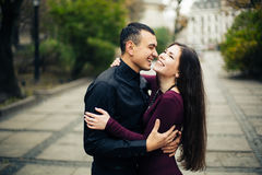 Happy couple posing in city royalty free stock image