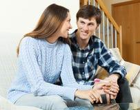 Happy couple  with pregnancy test Stock Photos
