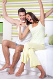 Happy  couple with pregnancy test Royalty Free Stock Photography