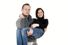 The happy couple a pregnant girl Royalty Free Stock Images