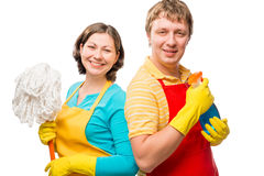 Happy couple is ready to clean Royalty Free Stock Images