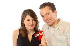Happy Couple and Red Heart Stock Photo