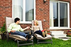 Happy couple relaxing at home Stock Photos