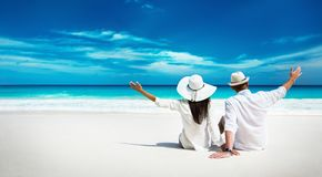 Happy Couple Relaxing on the Ocean. Seychelles island stock images