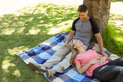 Happy couple relaxing in the park Stock Image