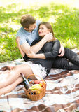 Happy couple relaxing at picnic in park Royalty Free Stock Photography