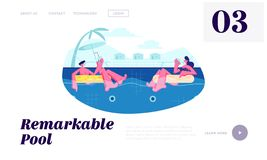 Happy Couple Relaxing on Resort, Floating at Inflatable Rings in Swimming Pool and Drinking Cocktails at Honeymoon. Summertime. Website Landing Page, Web Page royalty free illustration