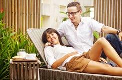 Happy couple in resort Royalty Free Stock Photos