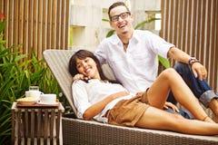 Happy couple in resort Stock Images