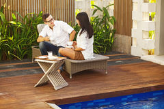 Happy couple in resort stock image