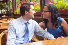 Happy couple at restaurant on honeymoon Stock Image