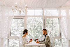 Happy couple in restaurant looking each other and toasting Royalty Free Stock Image