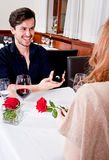 Happy couple in restaurant romantic date Royalty Free Stock Photography