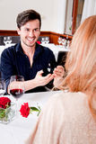 Happy couple in restaurant romantic date Royalty Free Stock Photo
