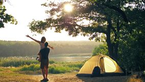 Happy couple resting on nature stock footage