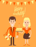 Happy couple retro art illustration. On a first birthday celebration. Fully editable vector illustration. Perfect use for greetings cards, posters, etc Stock Photos