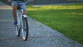 Happy couple riding a bicycle in the park. summer time. sunset. Happy couple riding a bicycle in the park stock video footage