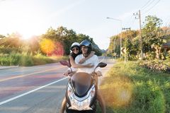 Happy Couple Riding Motorcycle In Countryside Excited Woman And Man Travel On Motorbike Road Trip Stock Photo