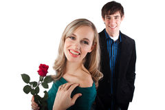 Happy couple with rose Stock Photo