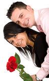 Happy couple with rose Royalty Free Stock Photos