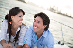 Happy couple sailing Stock Image