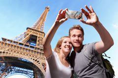 Happy couple selfie in Paris stock photography