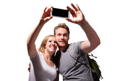 Happy couple selfie by smart phone Royalty Free Stock Image