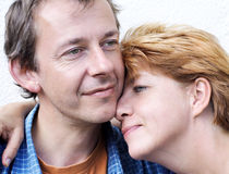 Happy couple series. Outdoor,middle-age,white background stock photo