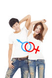 Happy couple with sex sign on the whit t shirt Stock Photo