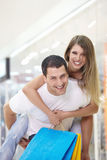 The happy couple with shopping Stock Photography