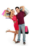 Happy couple with shopping bag Stock Image