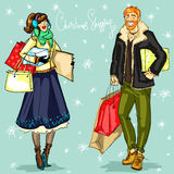 Happy couple with shopping bags and present boxes Stock Photography